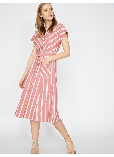 Koton Koton Turuncu Çizgili Elbise Oranj